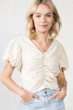 Very J Puff Sleeve Ruched Top - Product List Image