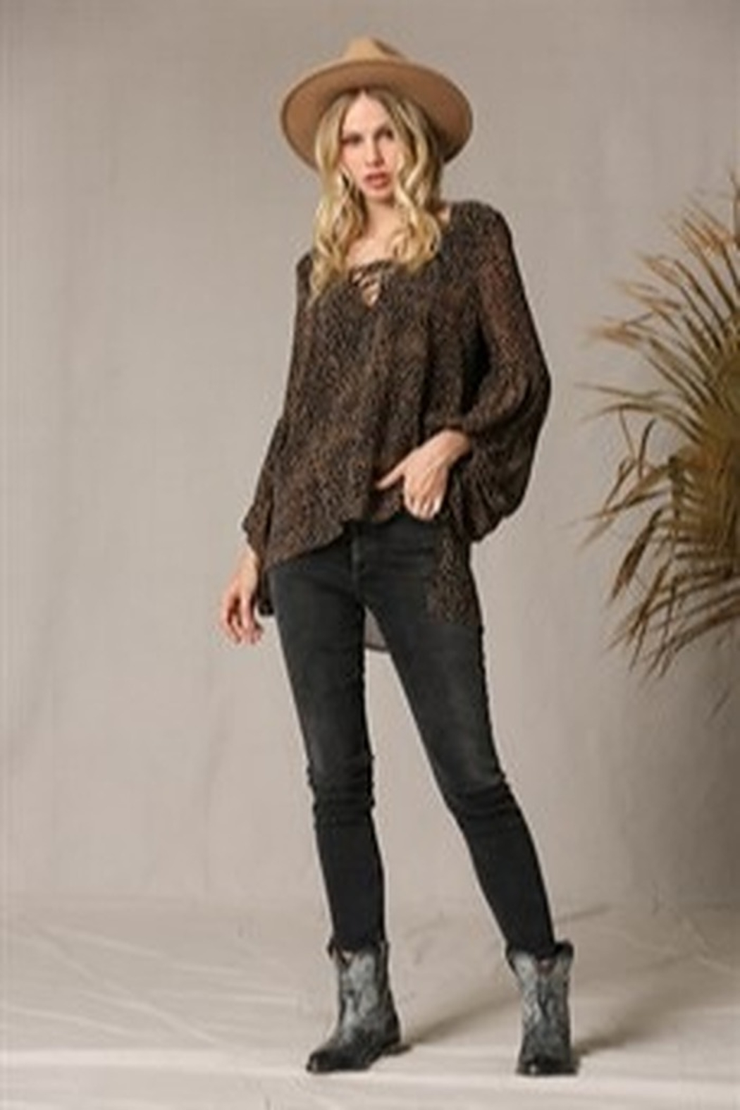 By Together Puff Sleeve Spotted Blouse - Side Cropped Image
