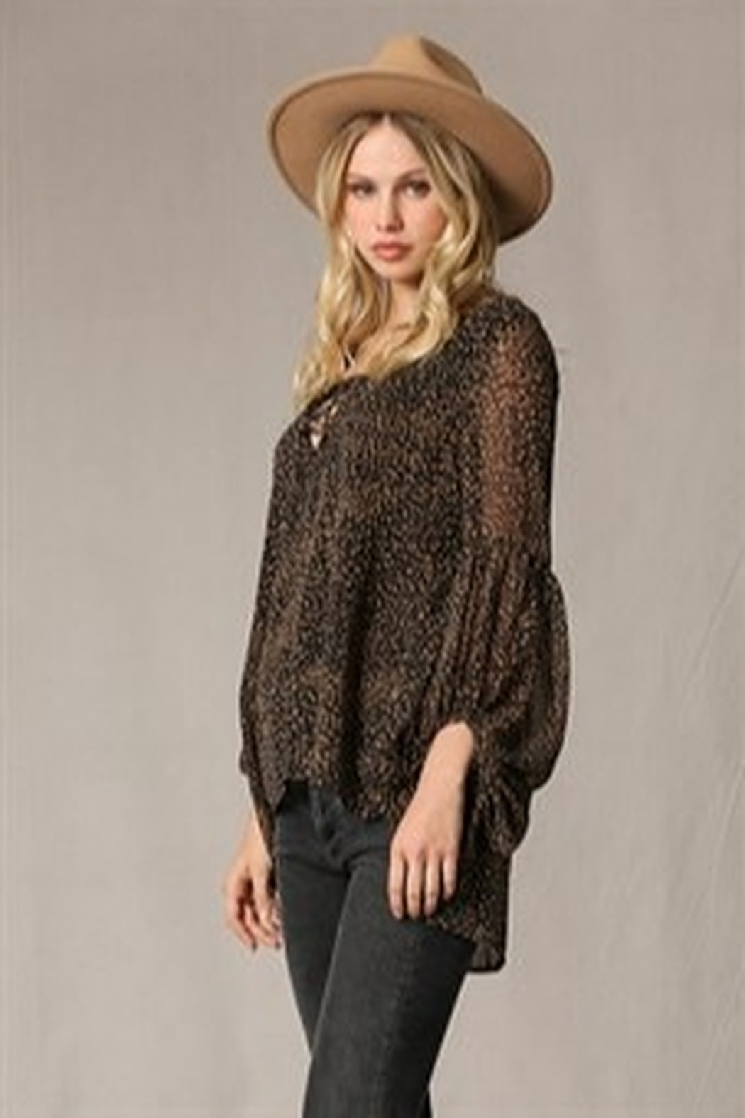 By Together Puff Sleeve Spotted Blouse - Back Cropped Image