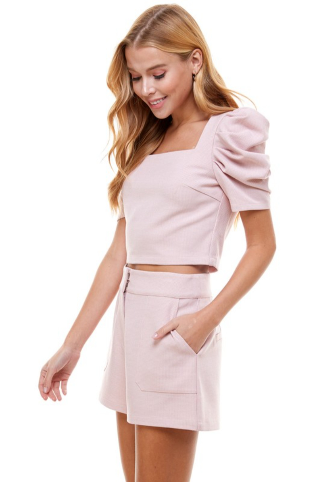 TCEC Puff Sleeve Square Neck Top - Side Cropped Image