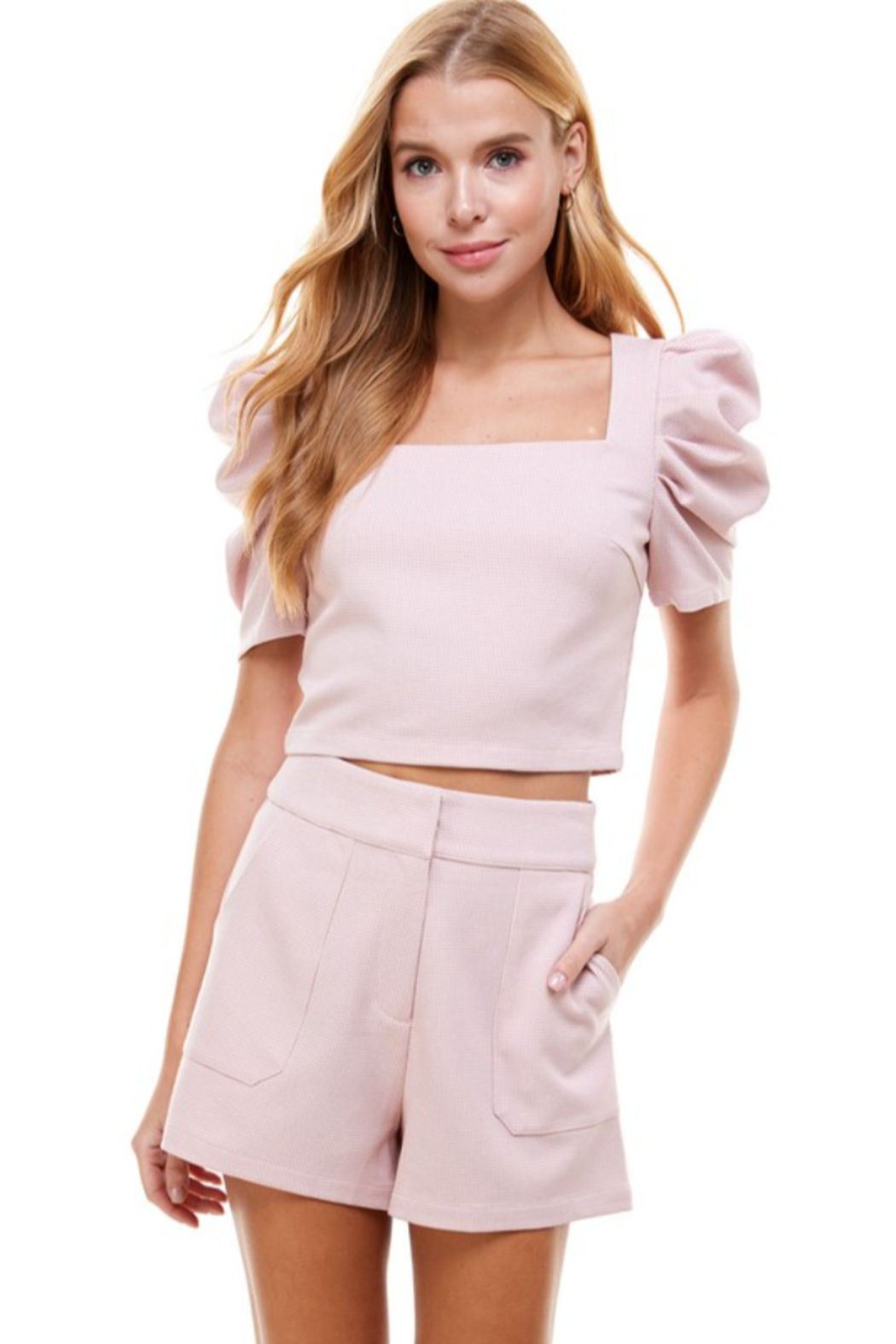 TCEC Puff Sleeve Square Neck Top - Front Cropped Image
