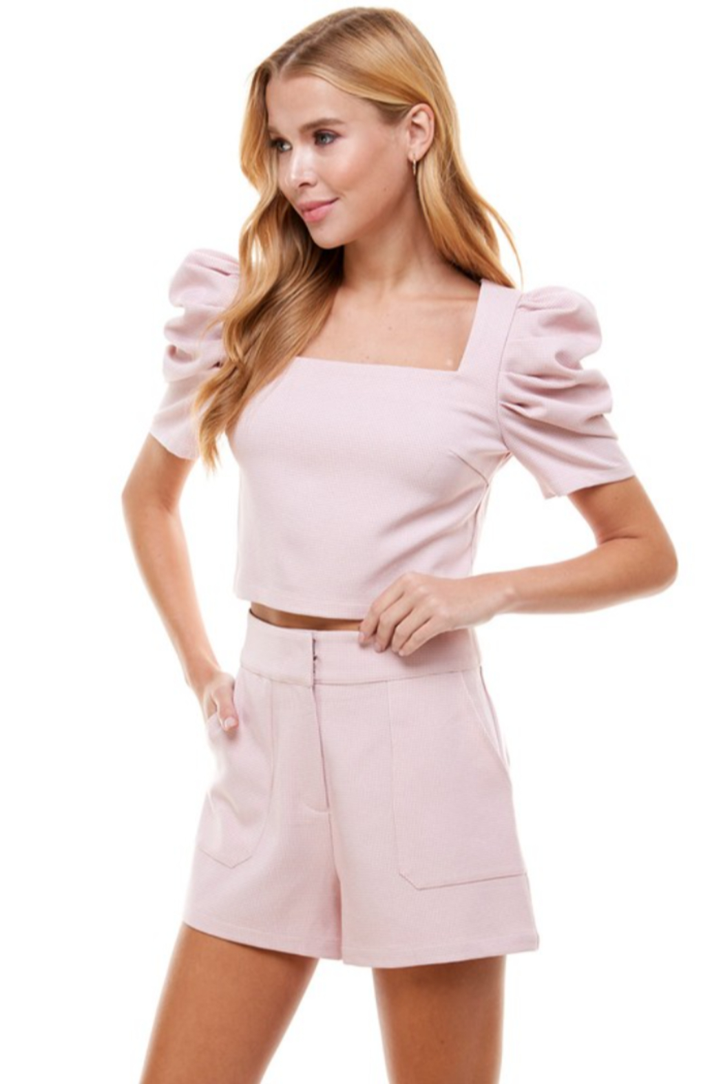TCEC Puff Sleeve Square Neck Top - Front Full Image