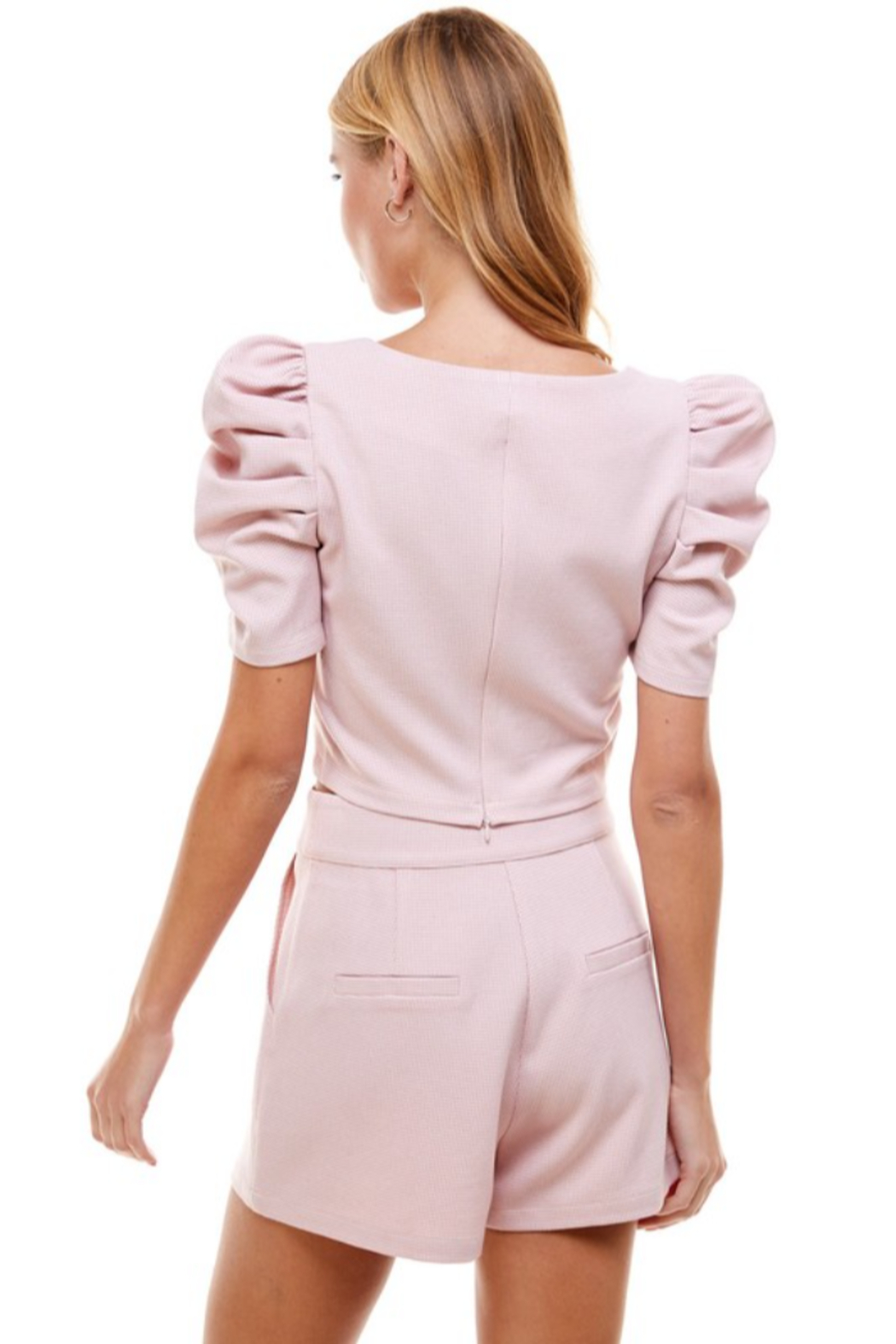 TCEC Puff Sleeve Square Neck Top - Back Cropped Image