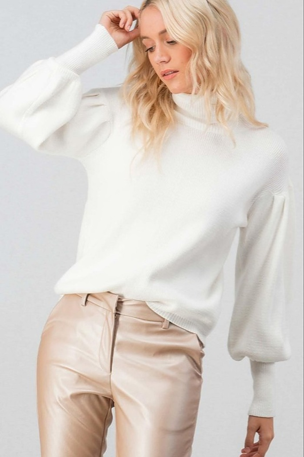Trend Notes  Puff Sleeve Sweater - Front Cropped Image