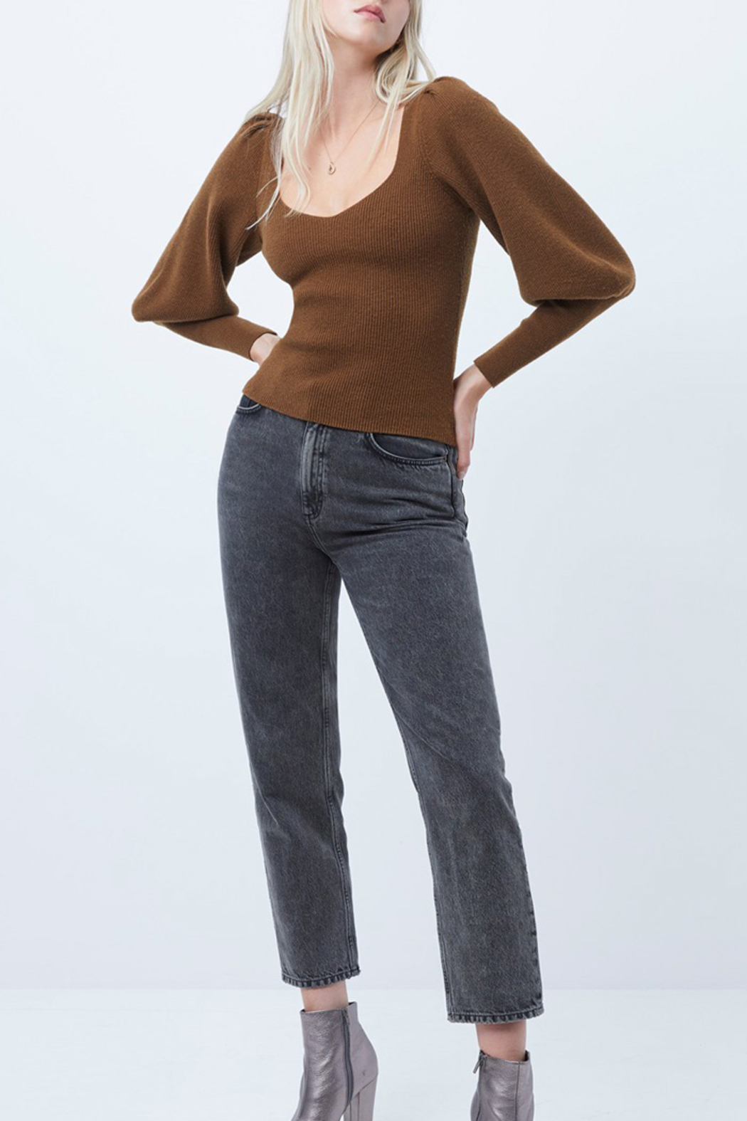 French Connection Puff Sleeve Sweater - Side Cropped Image