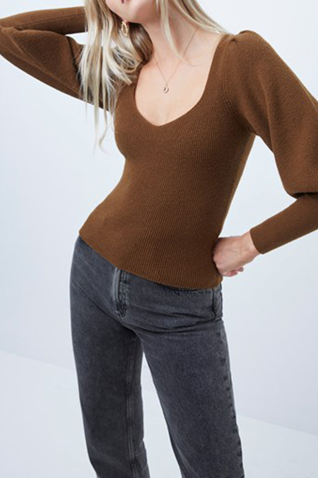 French Connection Puff Sleeve Sweater - Front Full Image