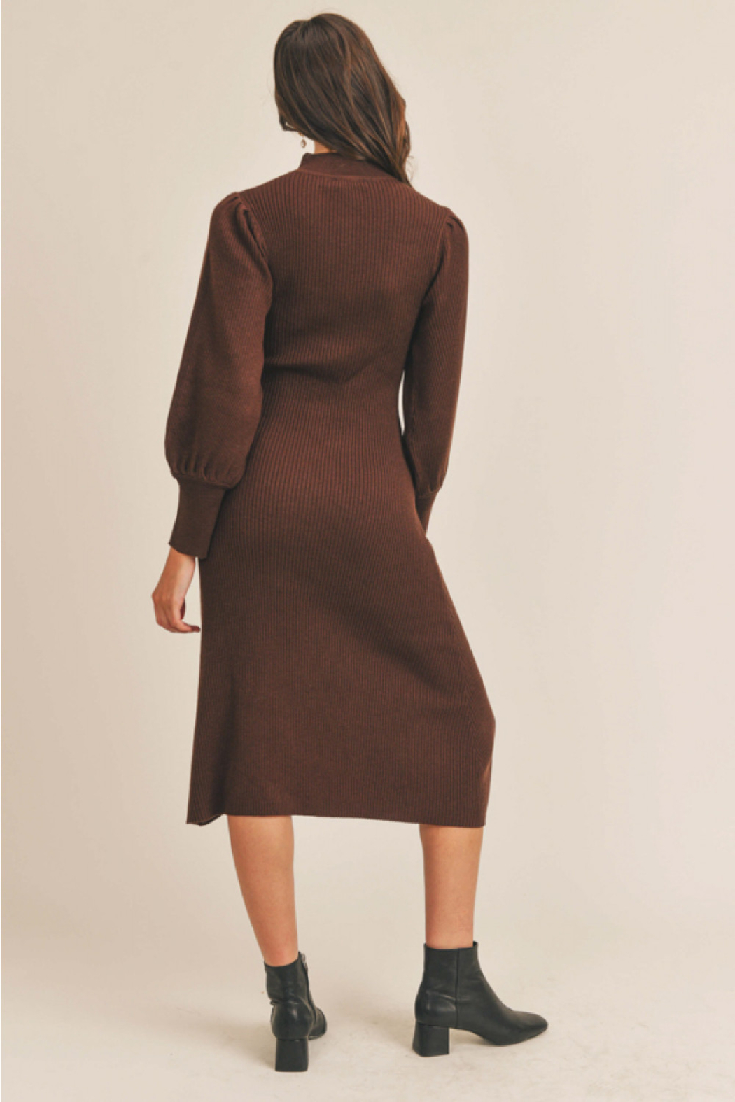 Lush  Puff Sleeve Sweater Dress - Front Cropped Image