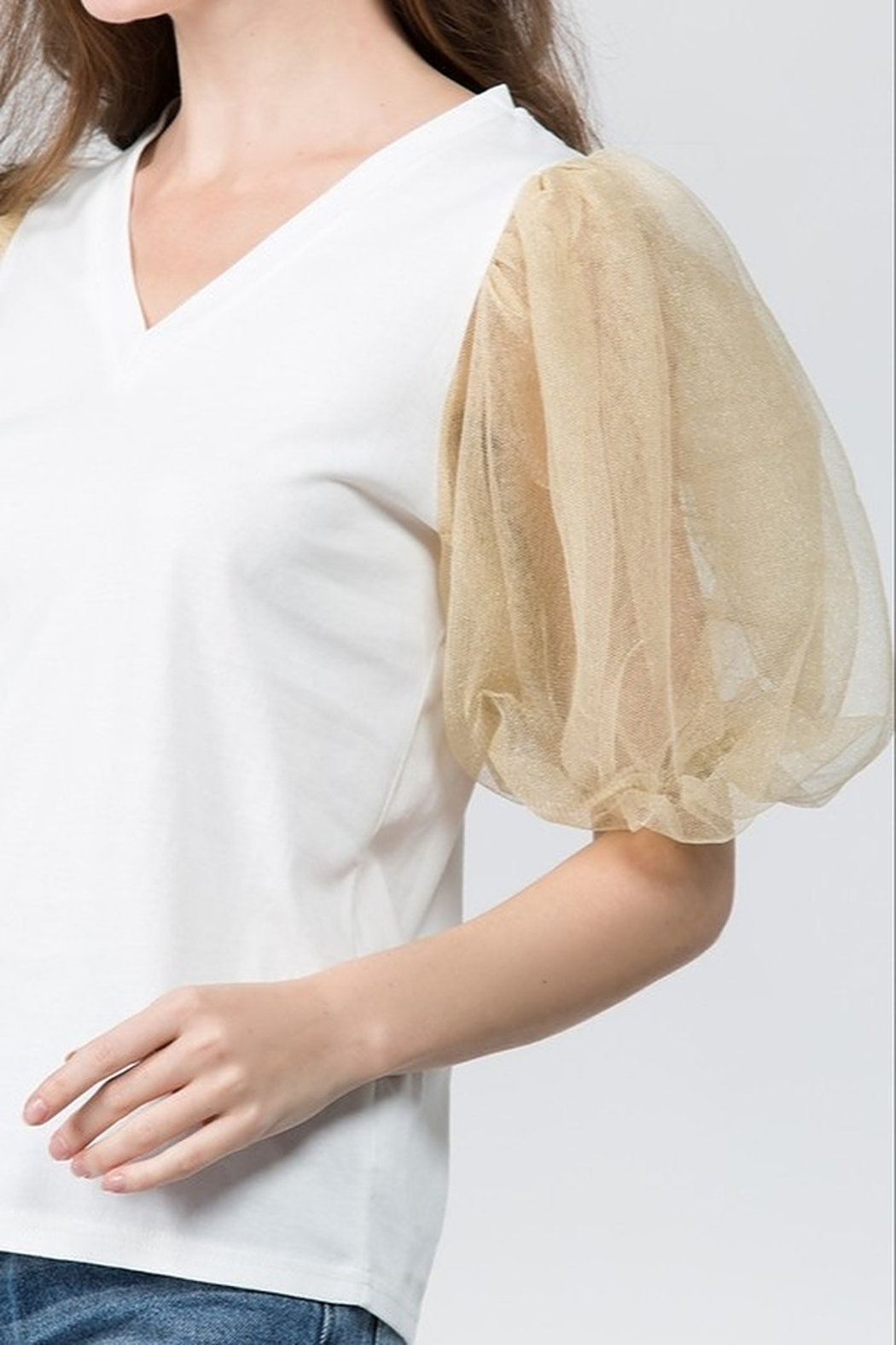 On Twelfth Puff Sleeve Top - Front Full Image
