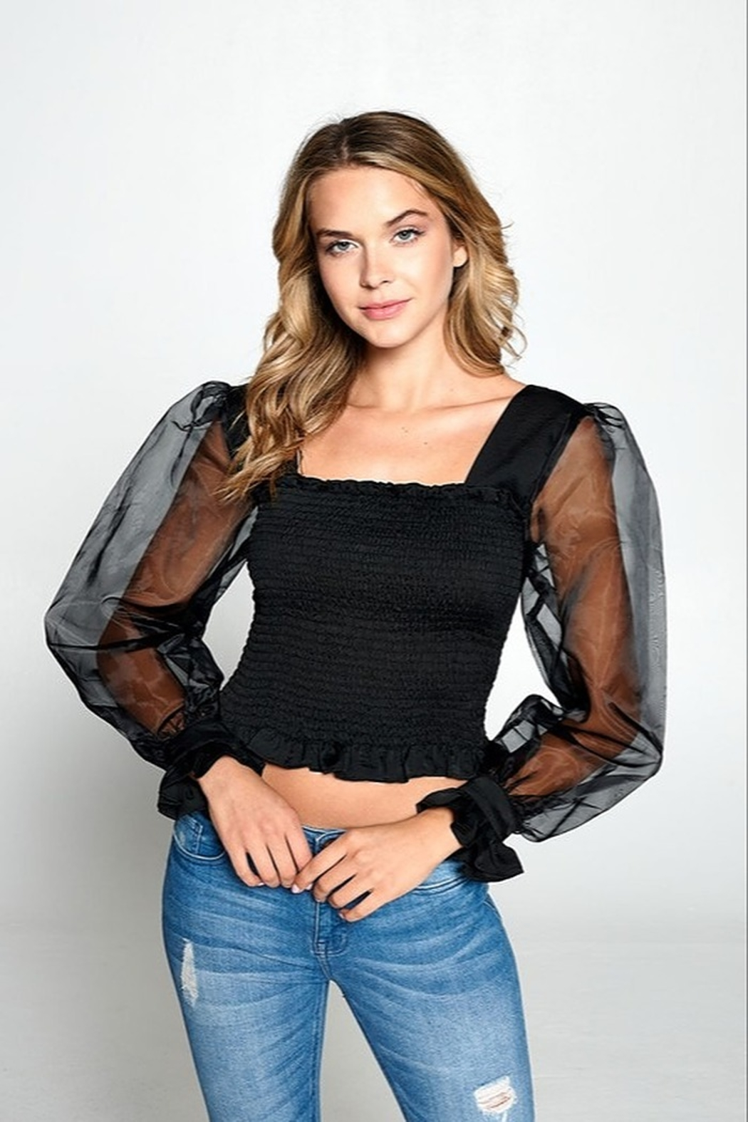 Strut & Bolt Puff Sleeve Top - Side Cropped Image