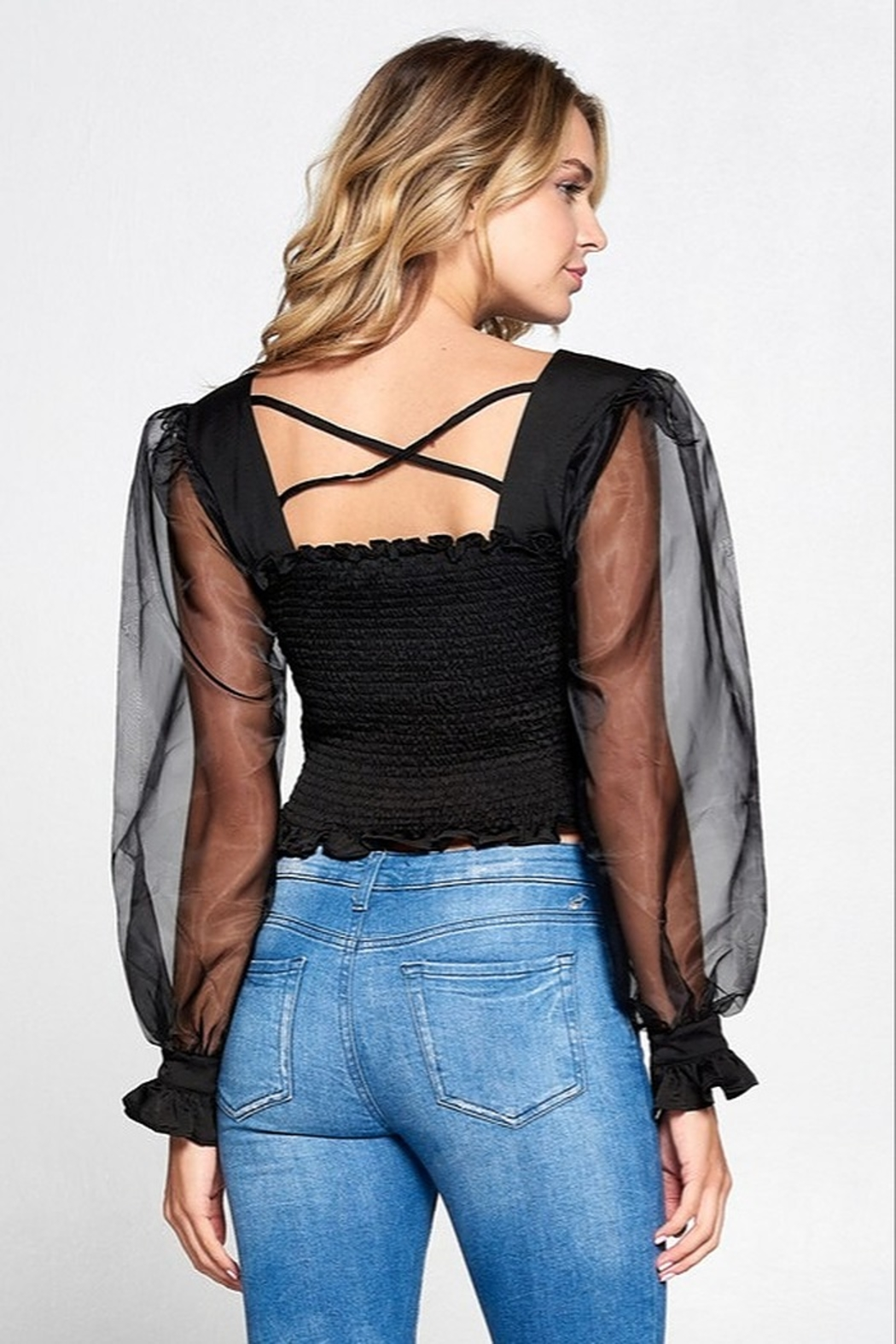Strut & Bolt Puff Sleeve Top - Front Full Image