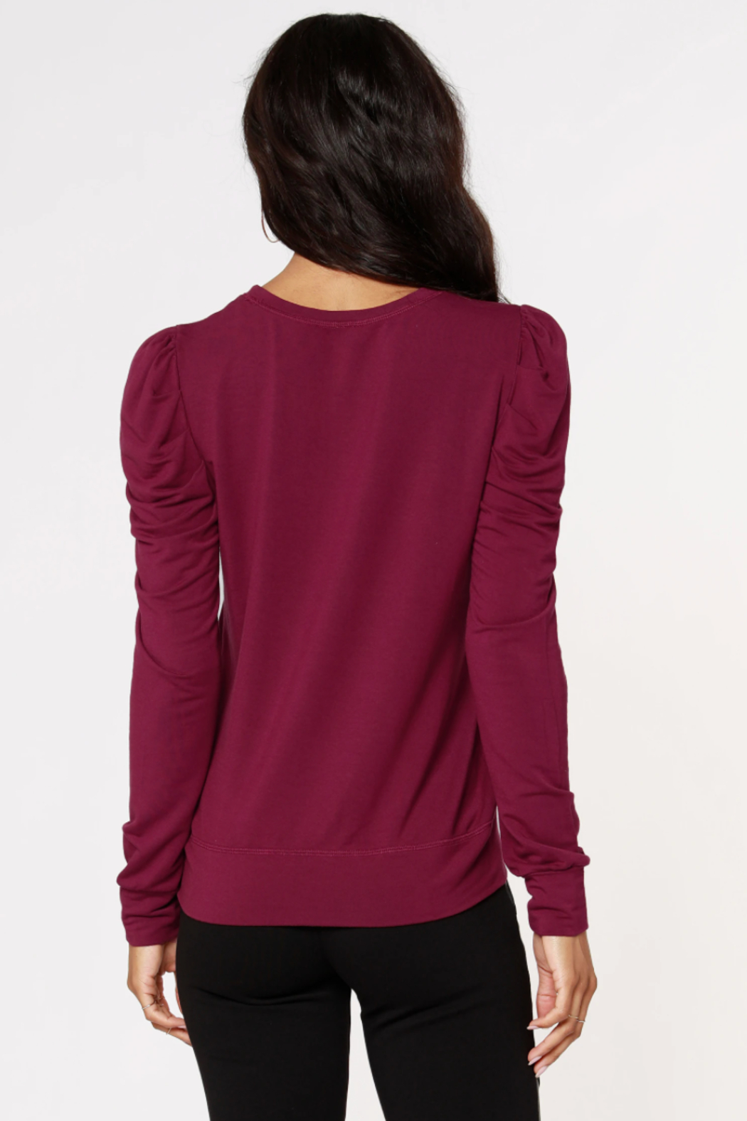 Bobi Los Angeles Puff Sleeve Top - Side Cropped Image