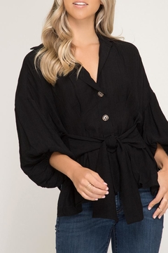 Shoptiques Product: Puff-Sleeve Top, Black