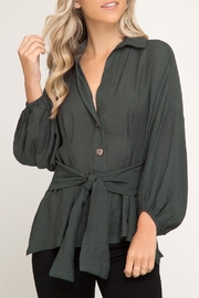 She + Sky Puff-Sleeve Top, Green - Product Mini Image