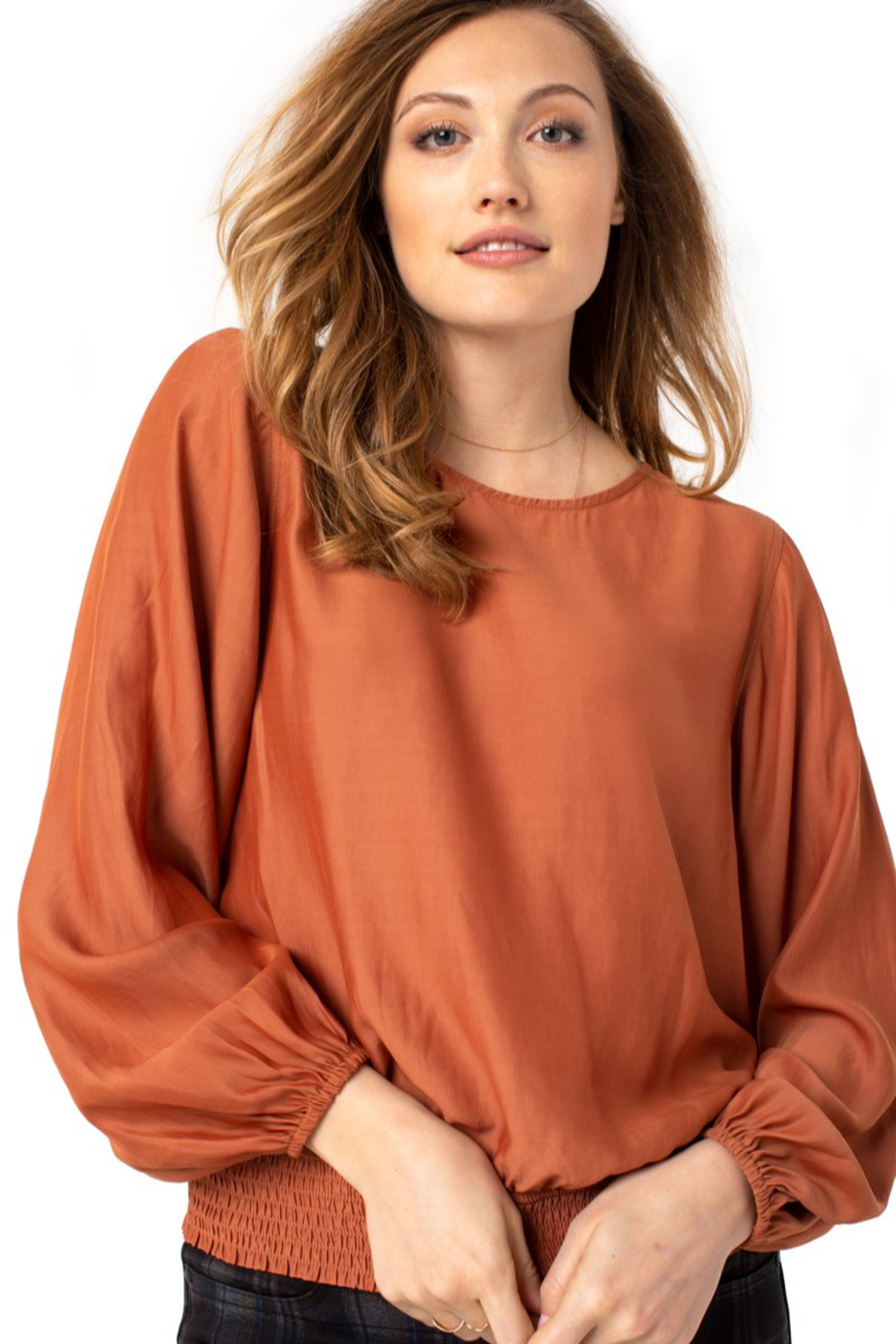 Liverpool  Puff sleeve top with smock waistband - Main Image