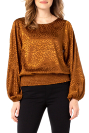 Liverpool  Puff Sleeve Top with Smocked Waistband - Product Mini Image