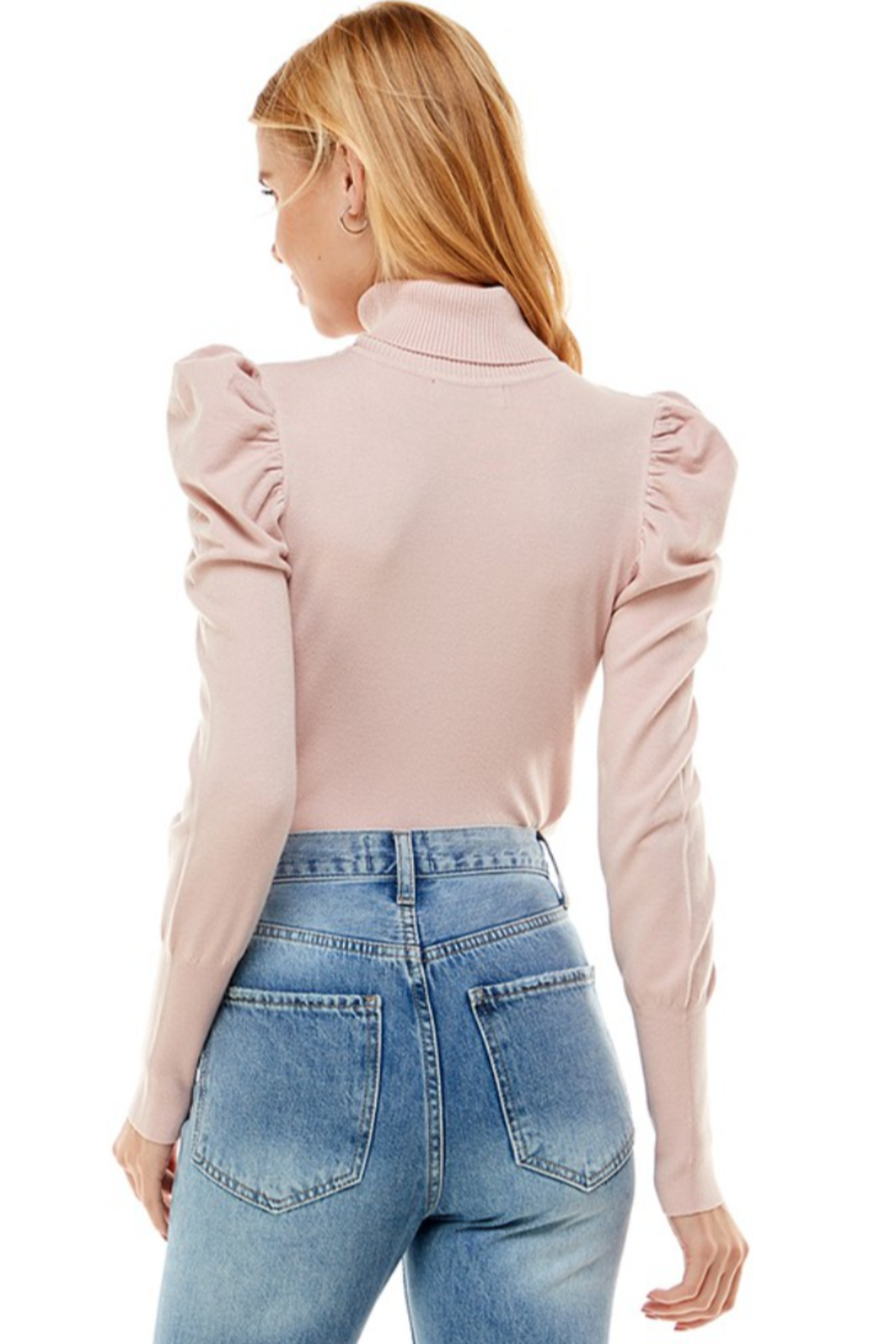 On Twelfth Puff Sleeve Turtleneck Sweater - Side Cropped Image