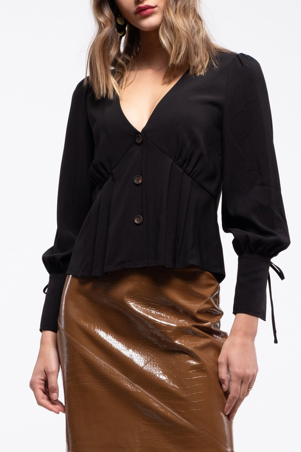 Moon River Puff Sleeve with Ribbon Blouse - Front Full Image