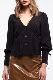 Moon River Puff Sleeve with Ribbon Blouse - Front cropped