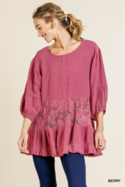 umgee  Puff Sleeves Crochet Berry Top - Product Mini Image