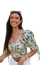 Emory Park Puff Sleeve Crop Top - Front full body