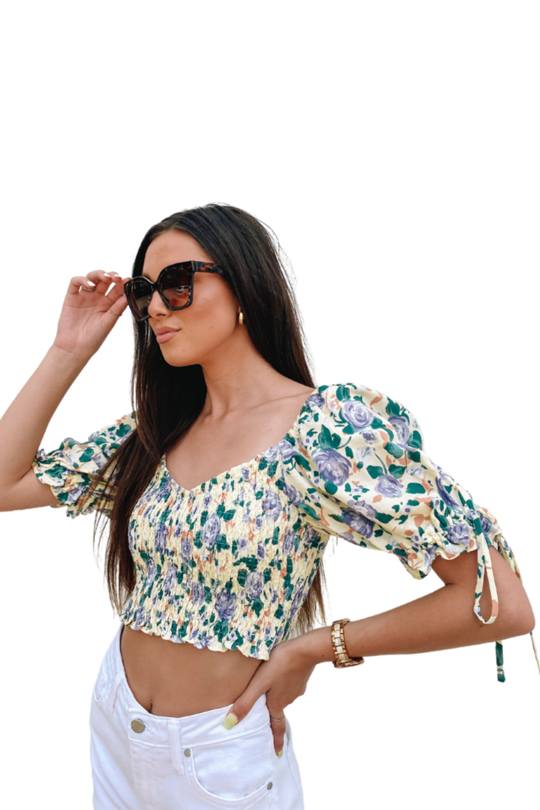 Emory Park Puff Sleeve Crop Top - Side Cropped Image