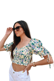 Emory Park Puff Sleeve Crop Top - Side cropped
