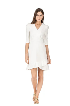 Jade Puffed Sleeve Ruffle Hem Dress - Product List Image