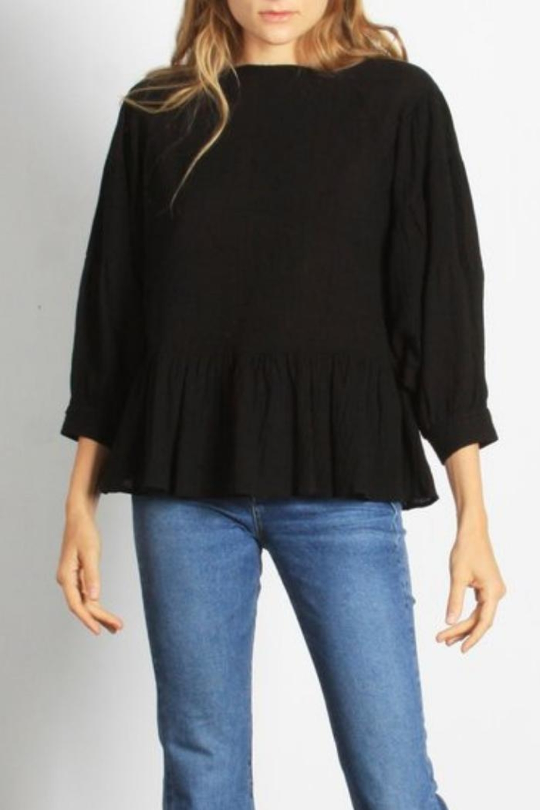 Mod Ref Puffsleeve Top, Black - Side Cropped Image