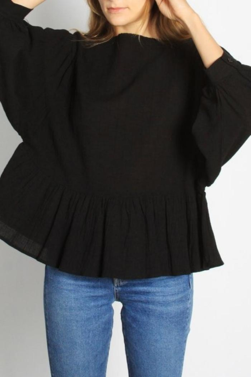 Mod Ref Puffsleeve Top, Black - Back Cropped Image