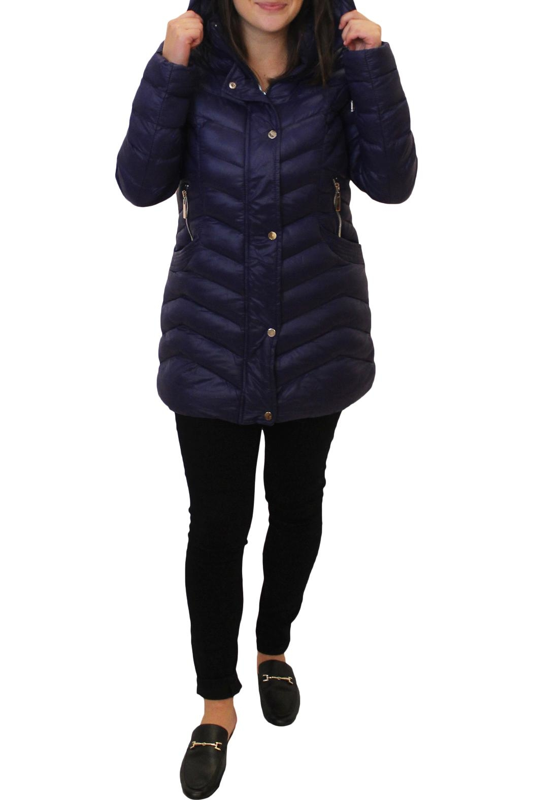 Tribal Puffy Hooded Jacket - Front Full Image