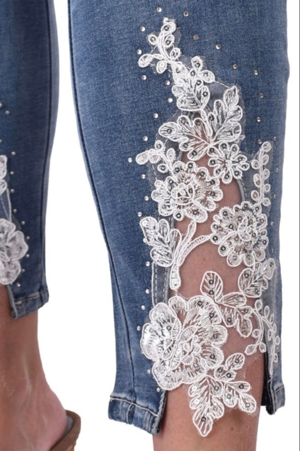 Ethyl Alani Pull on ankle jean with lace up front on bottom. - Front Full Image