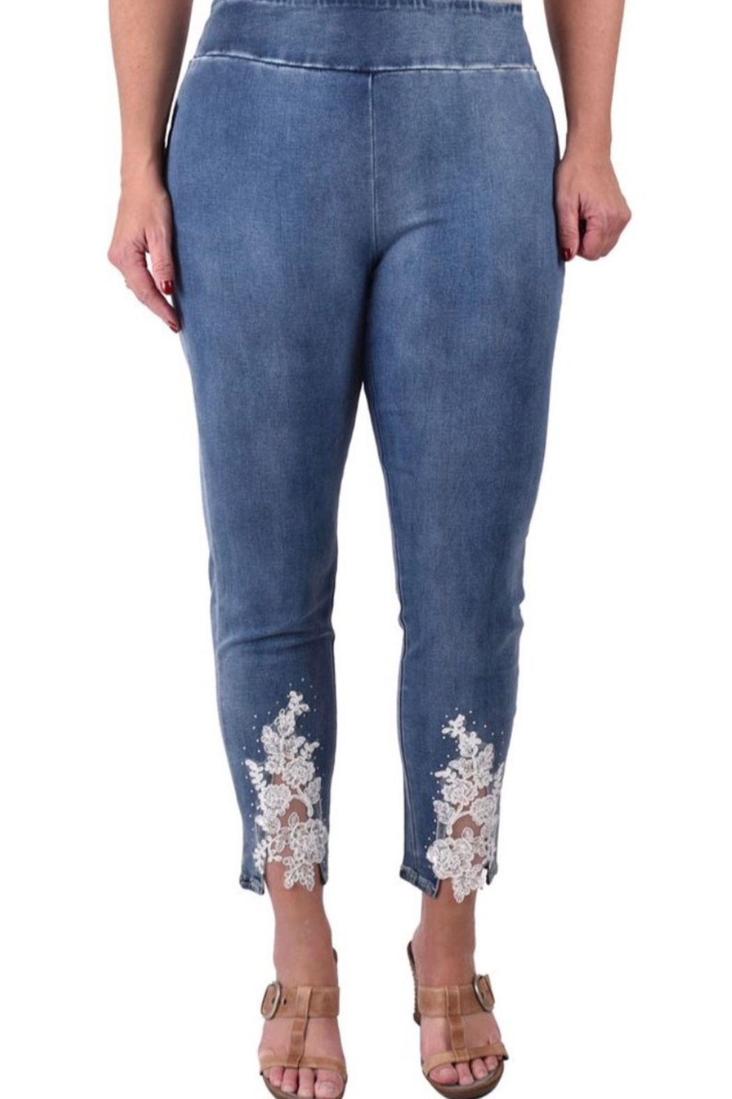 Ethyl Alani Pull on ankle jean with lace up front on bottom. - Main Image