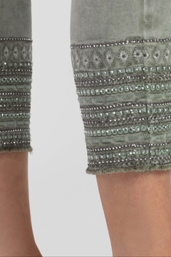 Tribal green pull on ankle leggings - Alternate List Image