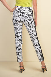 Joseph Ribkoff  Slim fit pull-on white crop pants with black design throughout. - Front full body