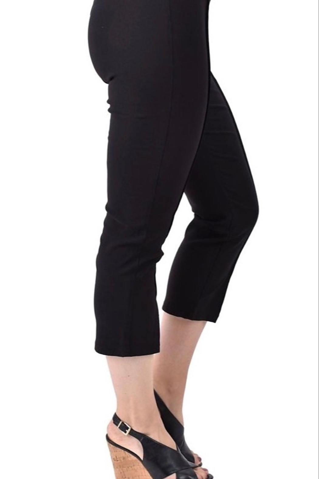 Ethyl Pembroke Pines Pull on black pant with front seam and slits at bottom. - Front Full Image