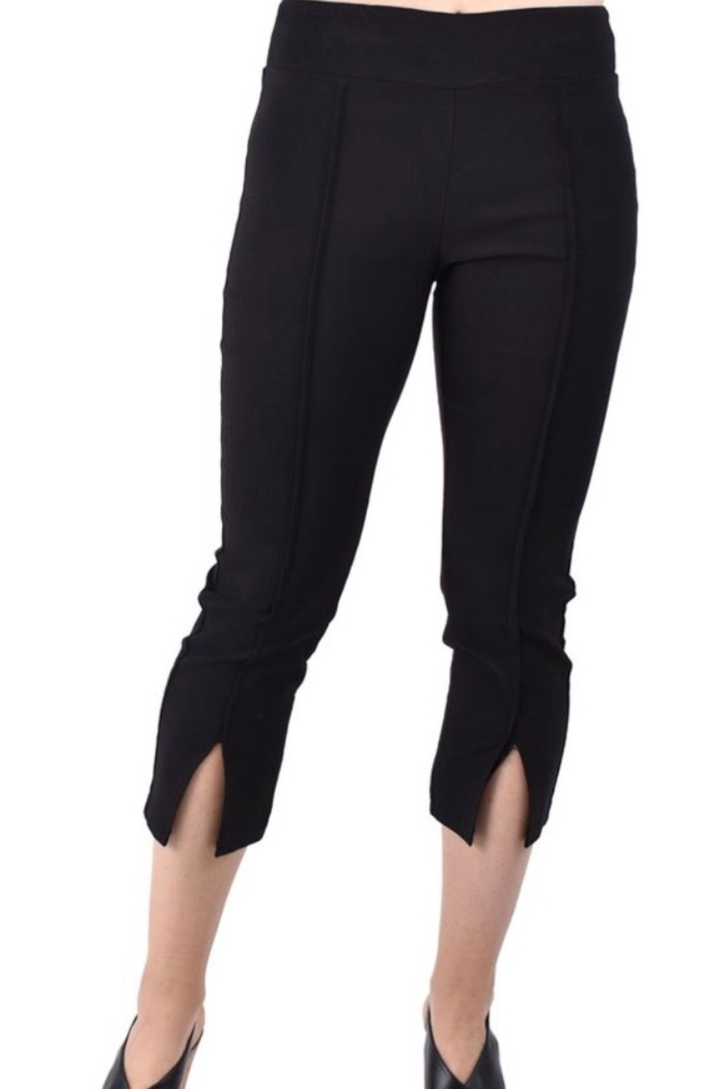Ethyl Pembroke Pines Pull on black pant with front seam and slits at bottom. - Main Image