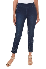 Ethyl  Pull-on denim ankle pant. Rhinestone embellishment on lower leg. - Front cropped