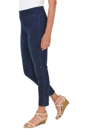 Ethyl  Pull-on denim ankle pant. Rhinestone embellishment on lower leg. - Front full body