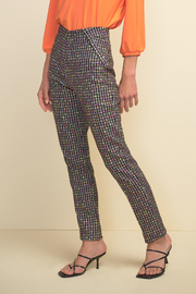 Joseph Ribkoff  pull on multi color check pant - Front cropped