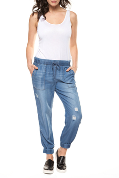 Shoptiques Product: Pull On Washed & Distressed Jogger Pant