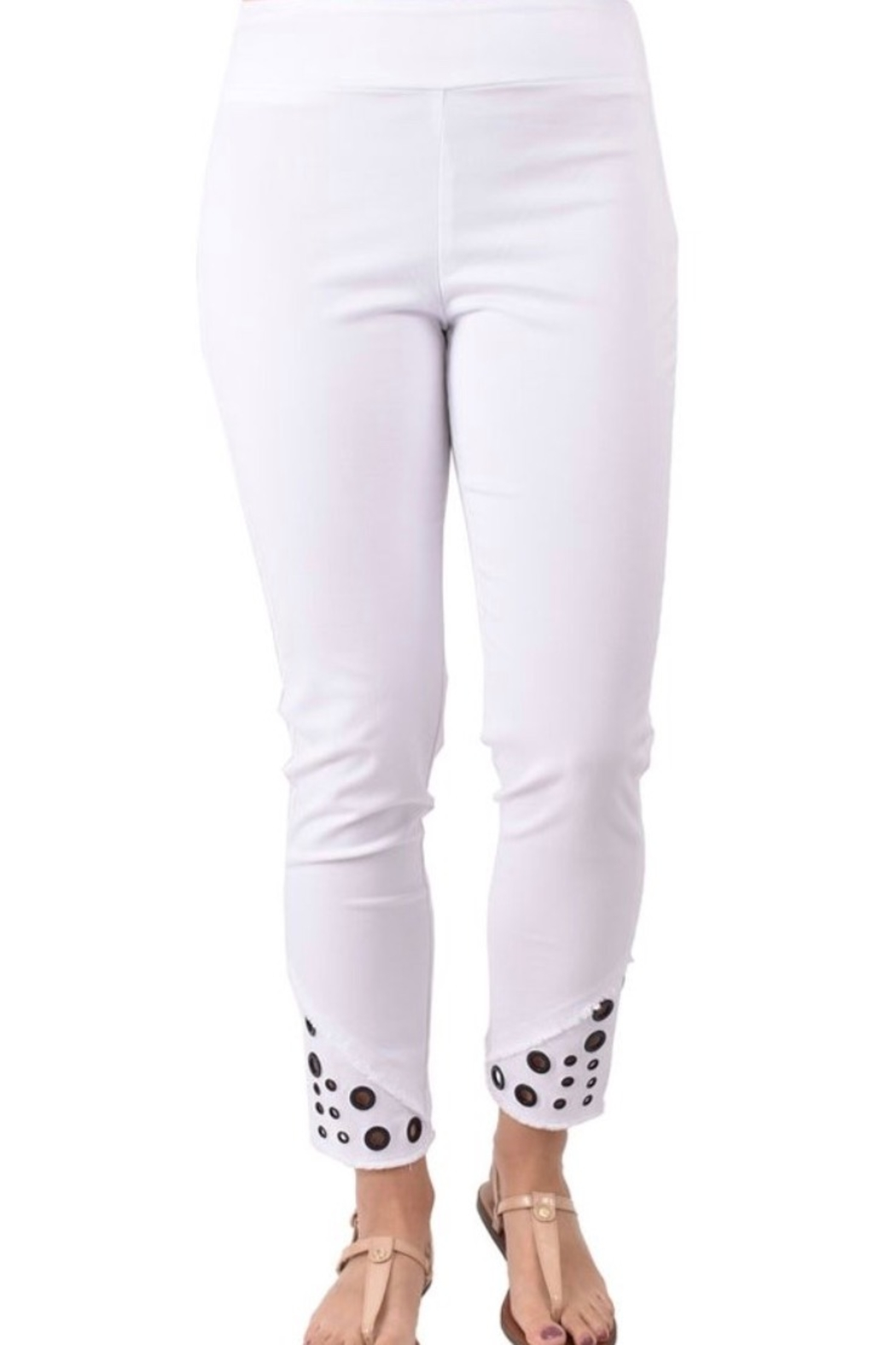 Ethyl Escondido Pull on white ankle pant with frayed hem and grommets. - Main Image