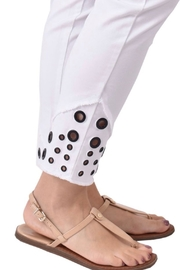 Ethyl Escondido Pull on white ankle pant with frayed hem and grommets. - Front full body