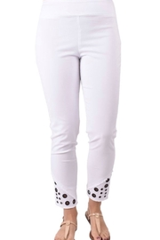 Ethyl Escondido Pull on white ankle pant with frayed hem and grommets. - Product Mini Image