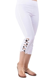 Ethyl Port St. Lucie Pull on white capri pants with grommet detail. - Product Mini Image