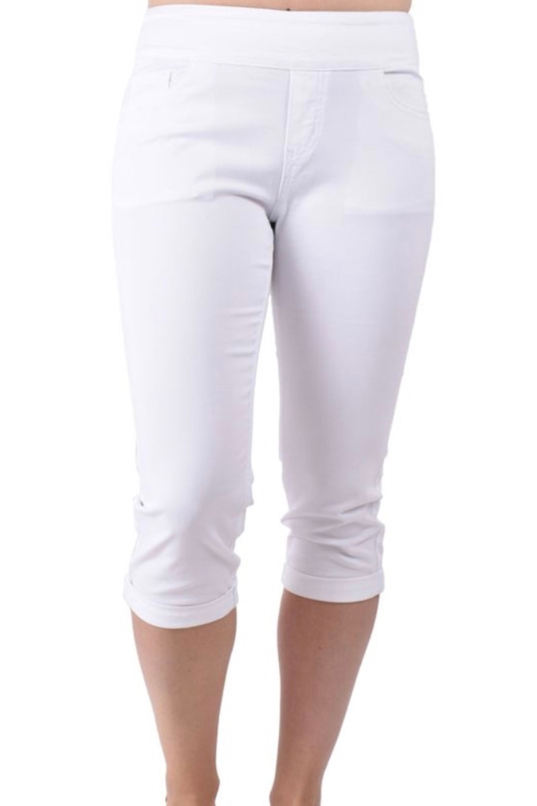 Ethyl Chattanooga Pull on white capris pant with roll up hem. - Main Image
