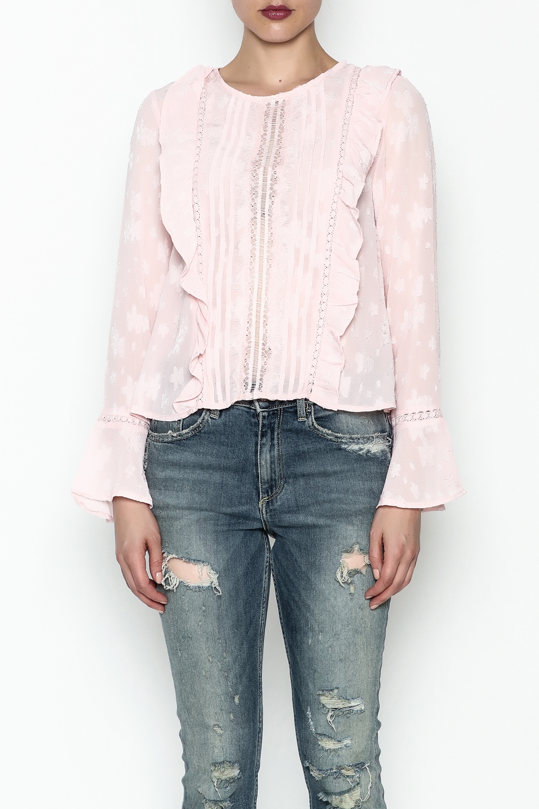 Ark & Co. Pullover Ruffle Blouse - Front Full Image