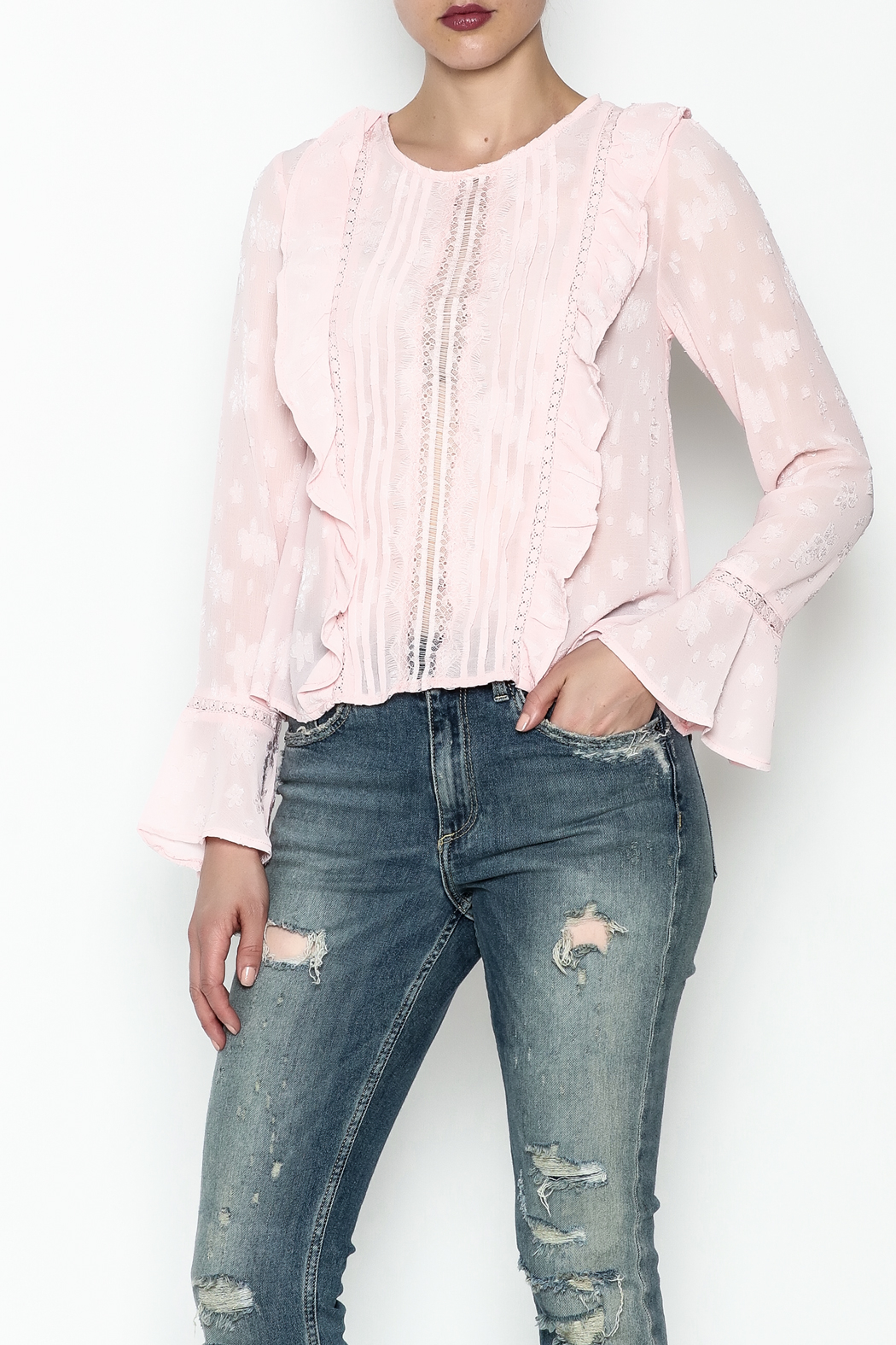 Ark & Co. Pullover Ruffle Blouse - Front Cropped Image