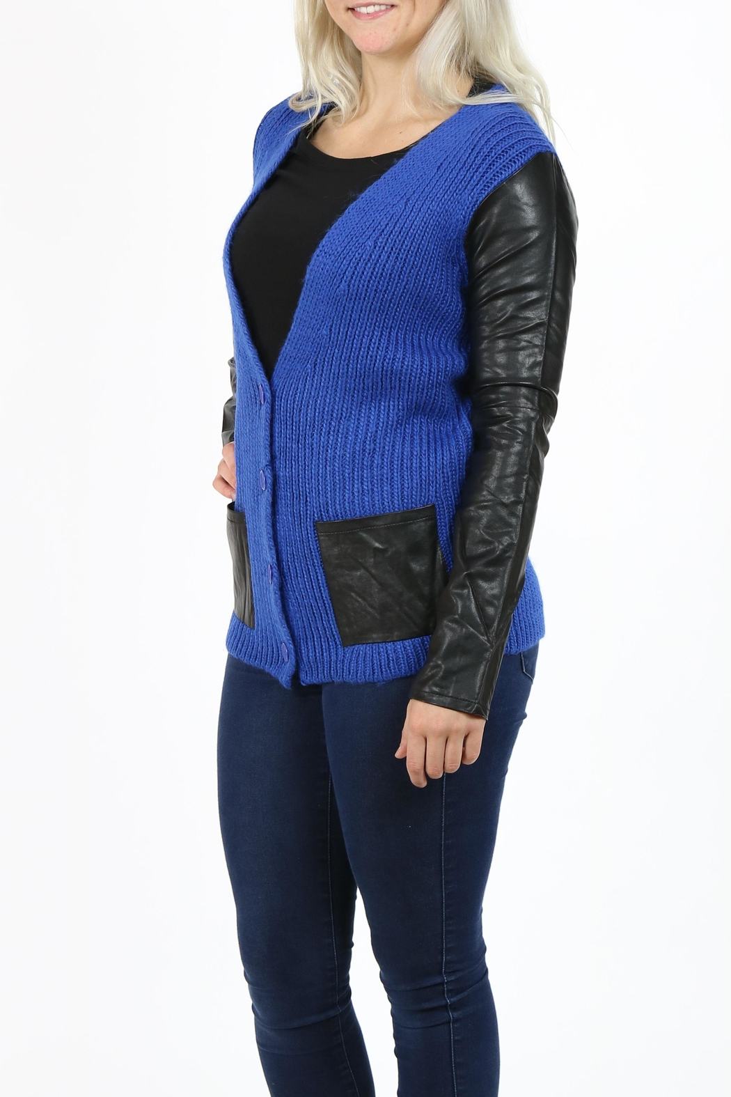 Pulp 2 Tone Cardigan - Side Cropped Image