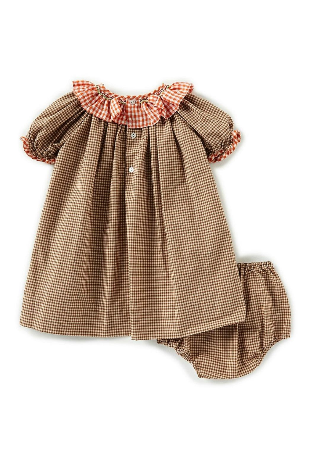 Petit Ami Pumpkin-Embroidered-Gingham-Dress-With-Bloomers - Front Full Image