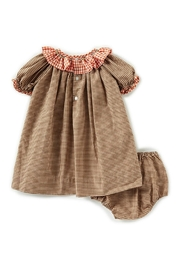 Petit Ami Pumpkin-Embroidered-Gingham-Dress-With-Bloomers - Front full body